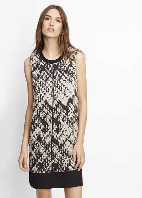 Basketweave Print Silk Double Layer Dress