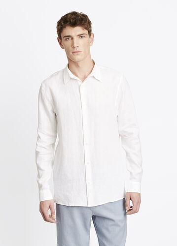Melrose Linen Square Hem Button Up