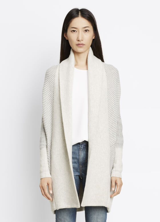Colorblock Rib Circle Cardigan