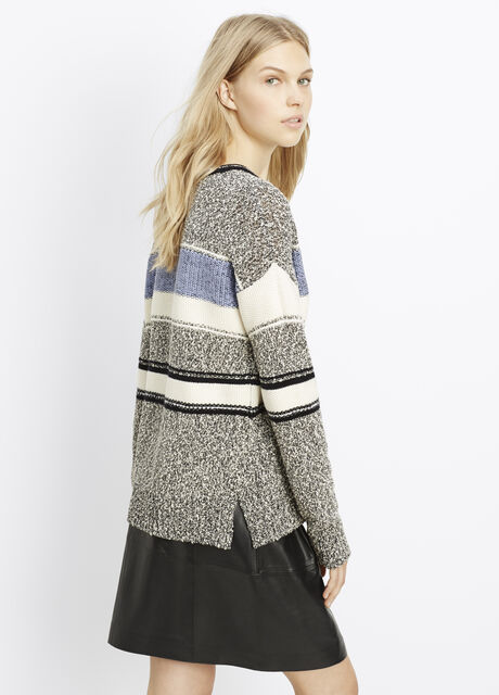 Texture-Blocked Easy Fit Crew Neck Sweater