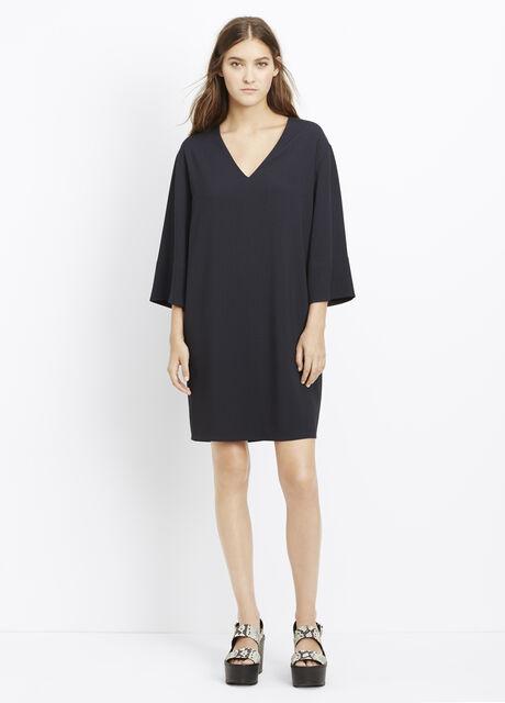 Textured Crepe Three-Quarter Sleeve Shift Dress