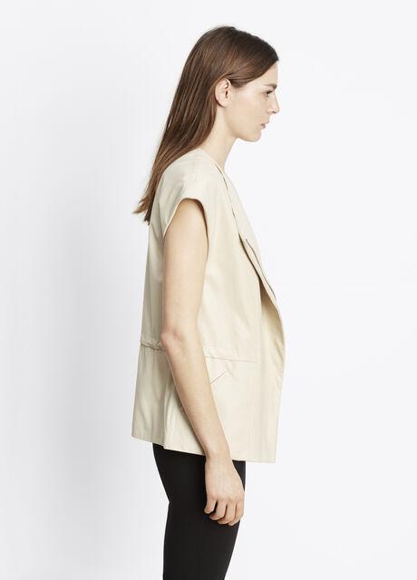 Lamb Leather Cap Sleeve Vest
