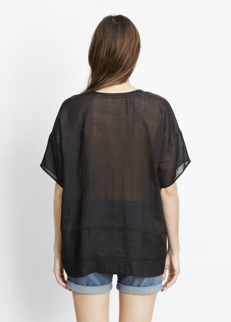 Lace Inset Dropped Shoulder Tee