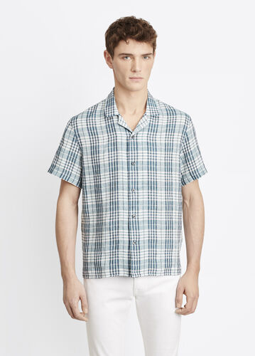 Linen Plaid Short Sleeve Button Up