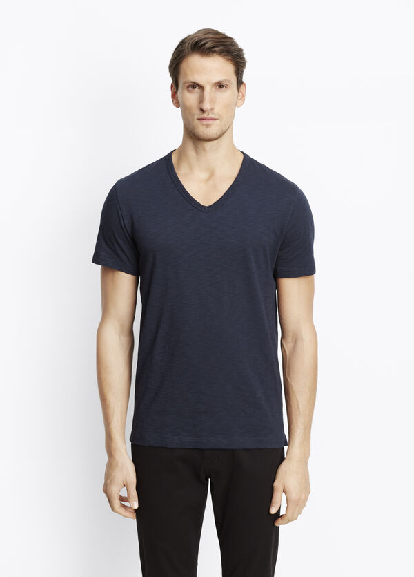 Slub Cotton V-Neck Tee