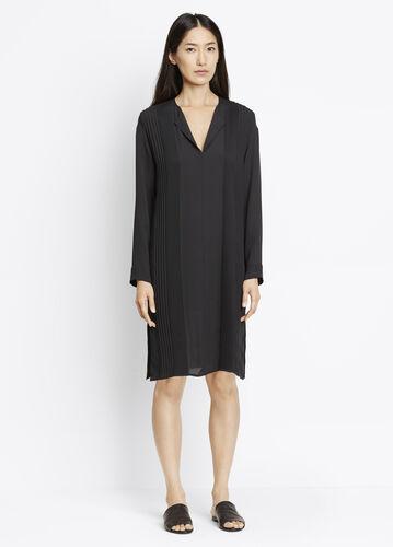 Long Sleeve Split Neck Pintuck Dress
