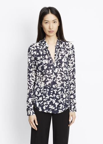 Silk Confetti Print Long Sleeve Blouse