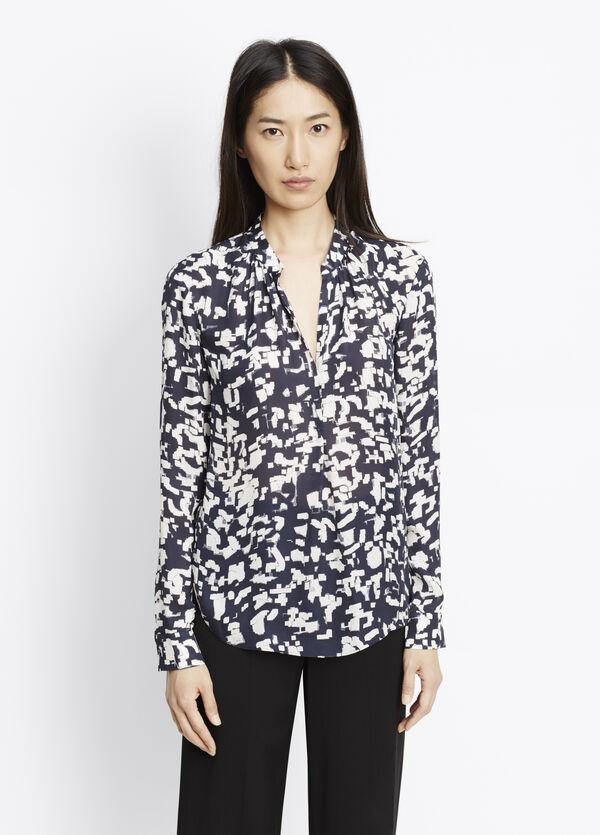 Silk Confetti Print Long Sleeve Blouse