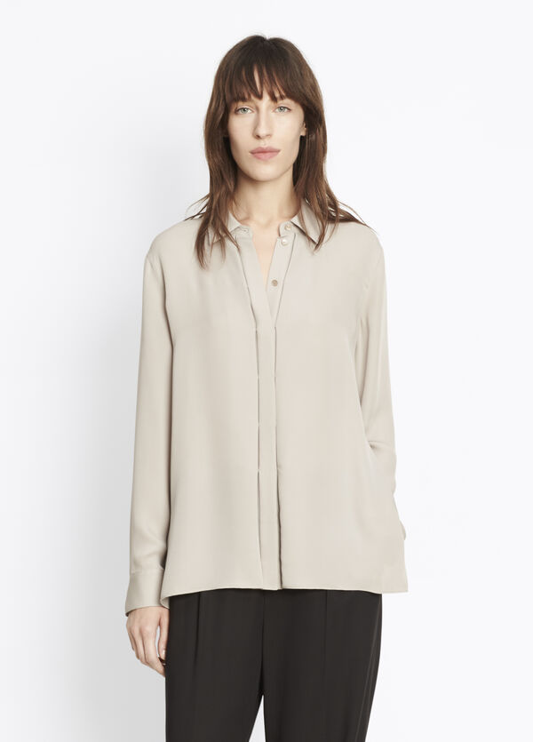 Collared Concealed Placket Shirt