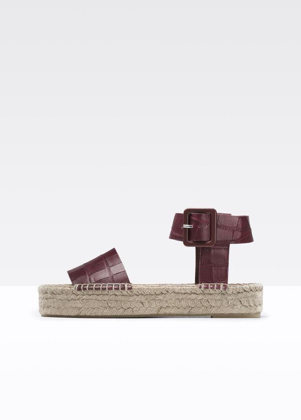 Edina Croc Printed Leather Espadrille Sandal