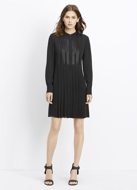 Pleated Dress With Lattice Lace Bib