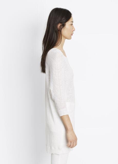 Linen Blend Three Quarter Sleeve Sweater