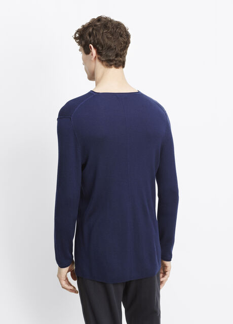 Wool Silk Crew Neck Sweater With Pocket