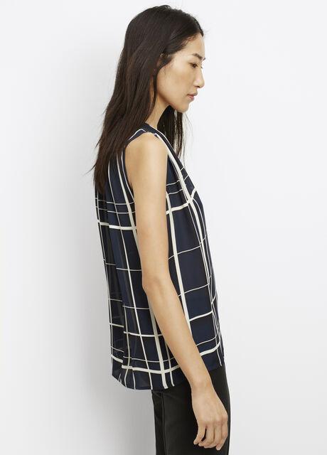 Lattice Print Silk Shirred Shoulder Sleeveless Blouse