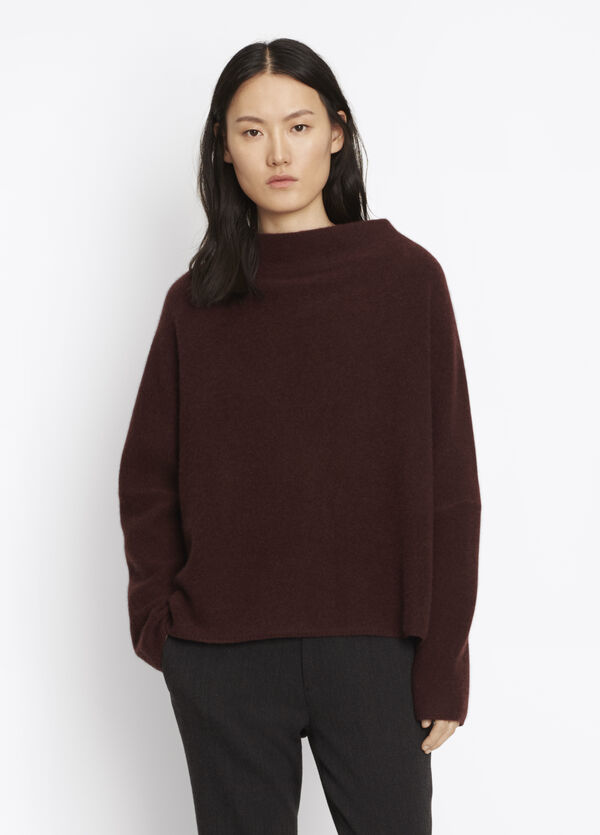 Boiled Cashmere Funnel Neck