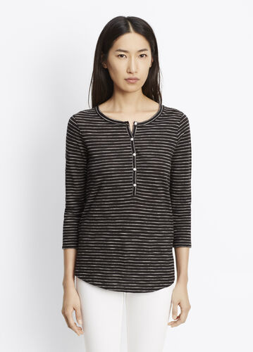 Striped Slub Cotton Three-Quarter Sleeve Henley