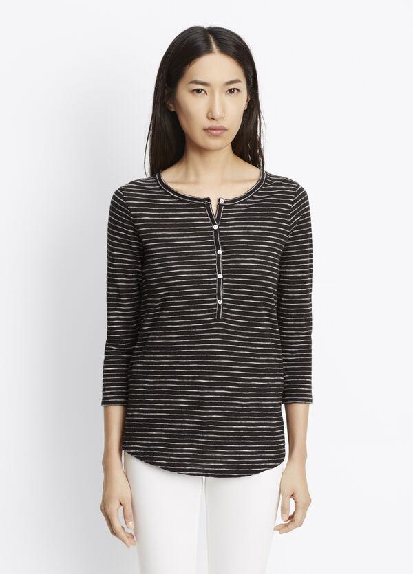 Striped Slub Cotton Three-Quarter Sleeve Henley