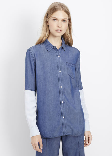 Chambray Colorblock Button Up