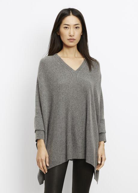 Rib Cuff V-Neck Poncho Sweater