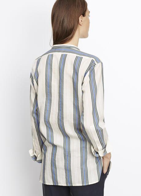 Vertical Stripe Henley Blouse