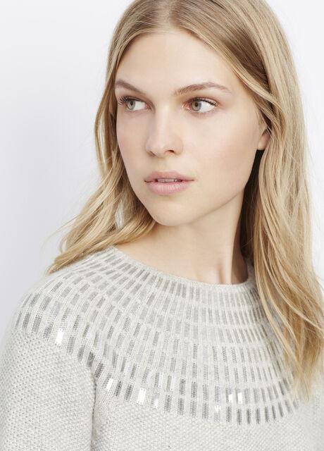 Sequin Textured Crew Neck Sweater