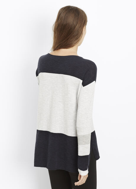 Intarsia Colorblock Boatneck Sweater