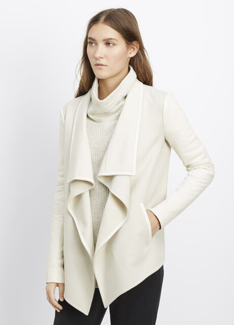 Wool Blend Drape Neck Jacket With Leather Sleeves