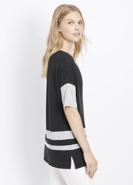 Optic Stripe Short Sleeve V-Neck Tee