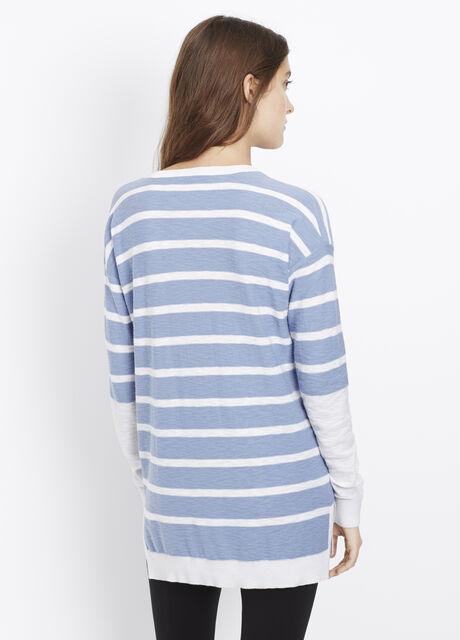 Cotton Slub Block Stripe Slim V-Neck Sweater