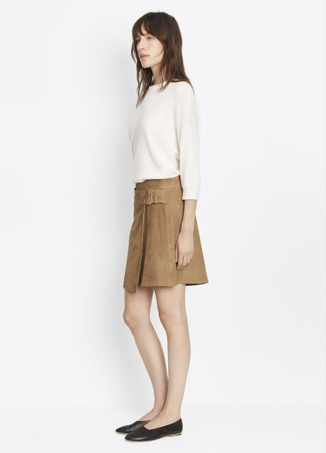 Belted Suede Skirt