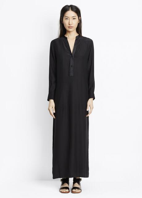 Silk Satin Long Sleeve Maxi Dress