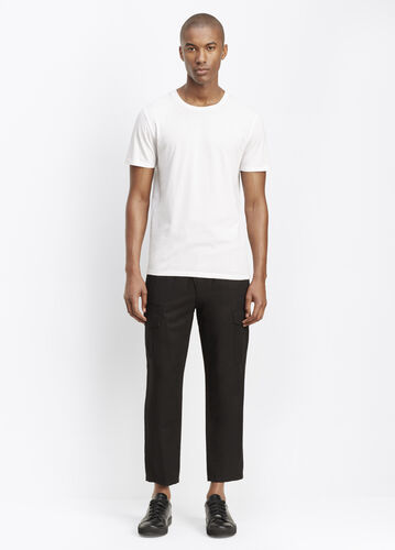 Linen Blend Assymetrical Pull-On Cargo Pant