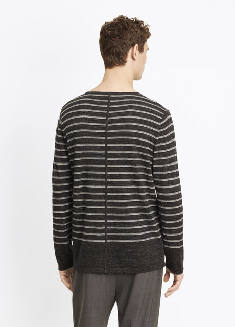 Sporty Jaspé Striped Crew Neck Sweater