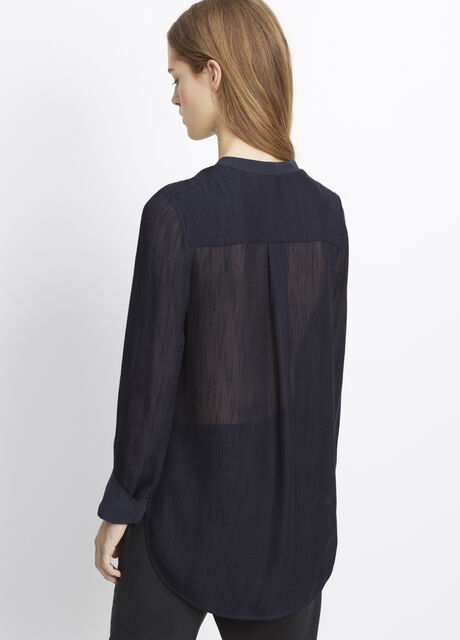 Textured Long Sleeve Blouse
