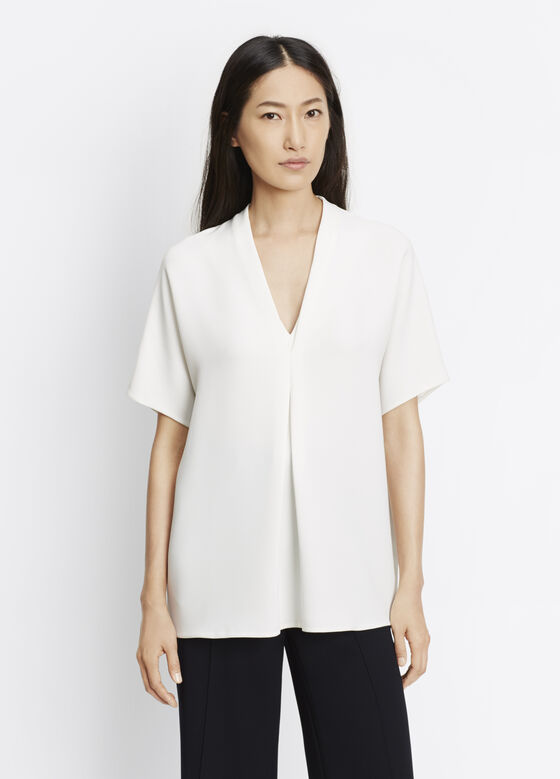 Crepe Elbow Sleeve Double V Blouse