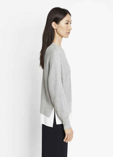 Double-Faced Mesh Crew Pullover