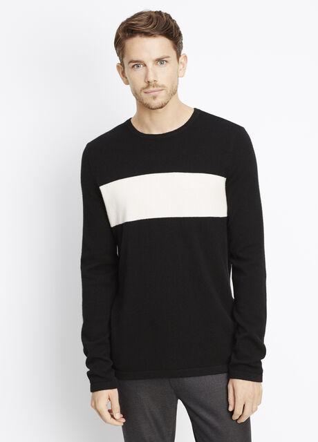 Wool Cashmere Block Stripe Crew Neck Sweater