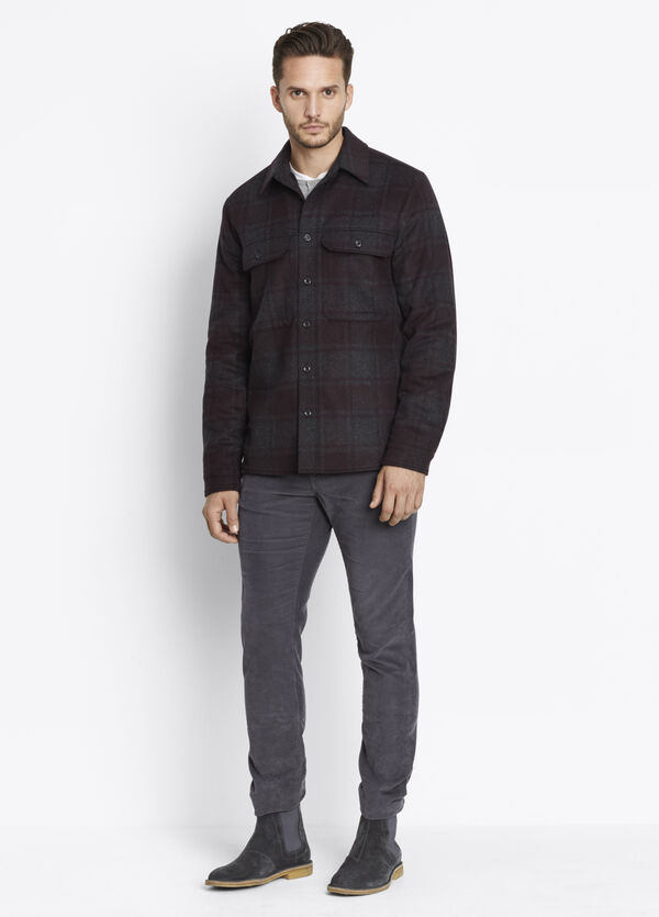 Wool Plaid Military Shirt Jacket