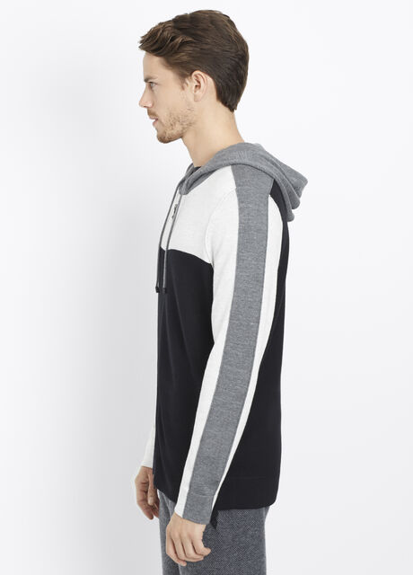 Sporty Jaspé Colorblock Zip-Up Hoodie