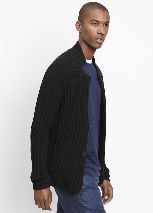 Cotton Cashmere Ribbed Cardigan Sweater