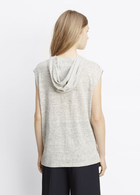 Linen Sleeveless Hooded Tee