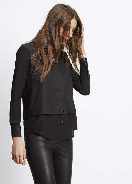 Classic Poplin Button Up With Silk Contrast