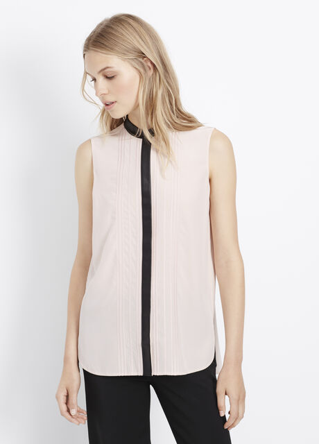 Mixed Media Embroidered Sleeveless Button Up