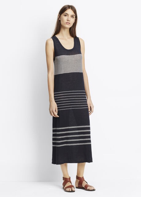 Striped Linen Tank Maxi Dress
