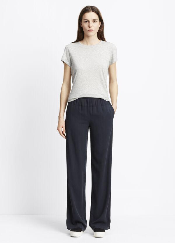 Blocked Silk Wide Leg Pants
