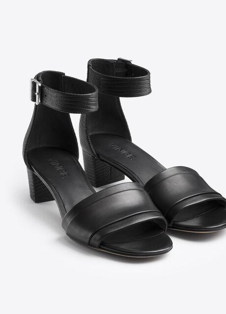Raine Texture Blocked Leather Low Heeled Sandal