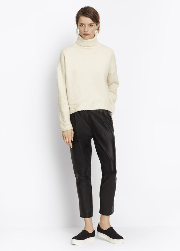 Leather Single Pleat Pant