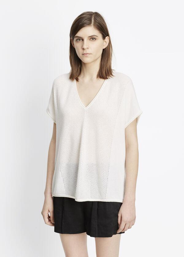 Cashmere Chevron Stitched Short Sleeve Sweater