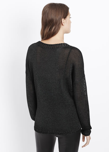 Metallic Knit Crew Neck Sweater