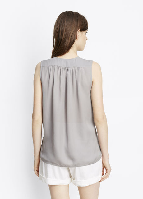 Silk Sleeveless Shirred Shoulder Top